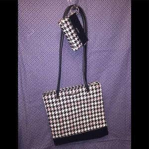 Nine West's Woolly Houndstooth Tote & Coin Purse